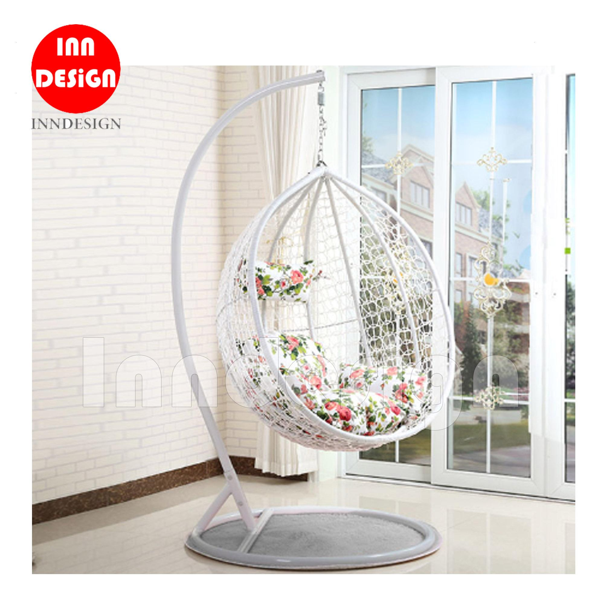 Coco Swing Chair / Lounge Chair / Relax Chair (White + Flower)