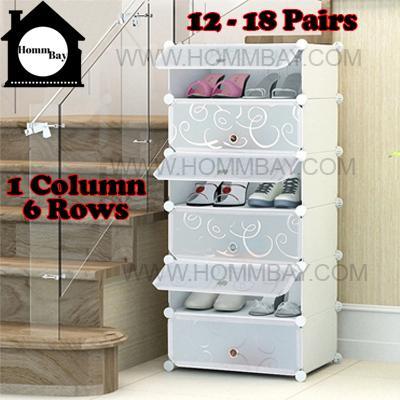 DIY Shoe Shoes Rack Storage Drawers Multi Purpose Modular Organizer Plastic Cabinets I WTWF Series I 1 Column 6 Rows