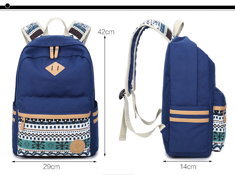 3c859c3b3d Ethnic Women Backpack for School Teenagers Girls Vintage Stylish School Bag  Ladies Canvas Backpack Female Back Pack