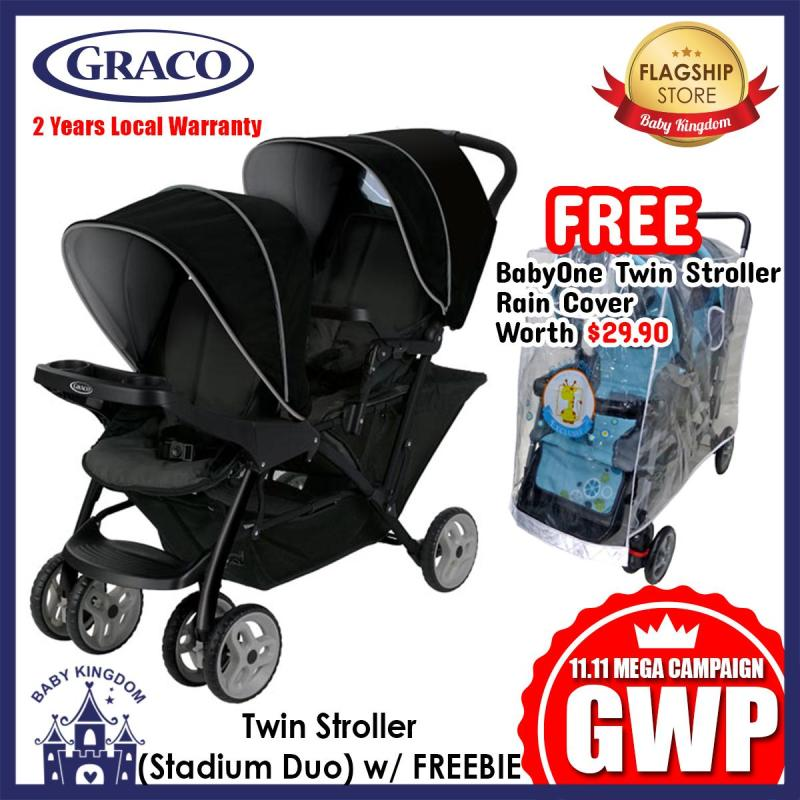 [11.11 GWP] Graco Stadium Duo Twin Stroller (Black Grey) - FREE BabyOne Rain Cover Singapore