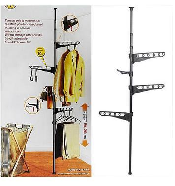 Standing Pole Clothes Hanger Rack Single Rod Sku1323 Black Best Buy