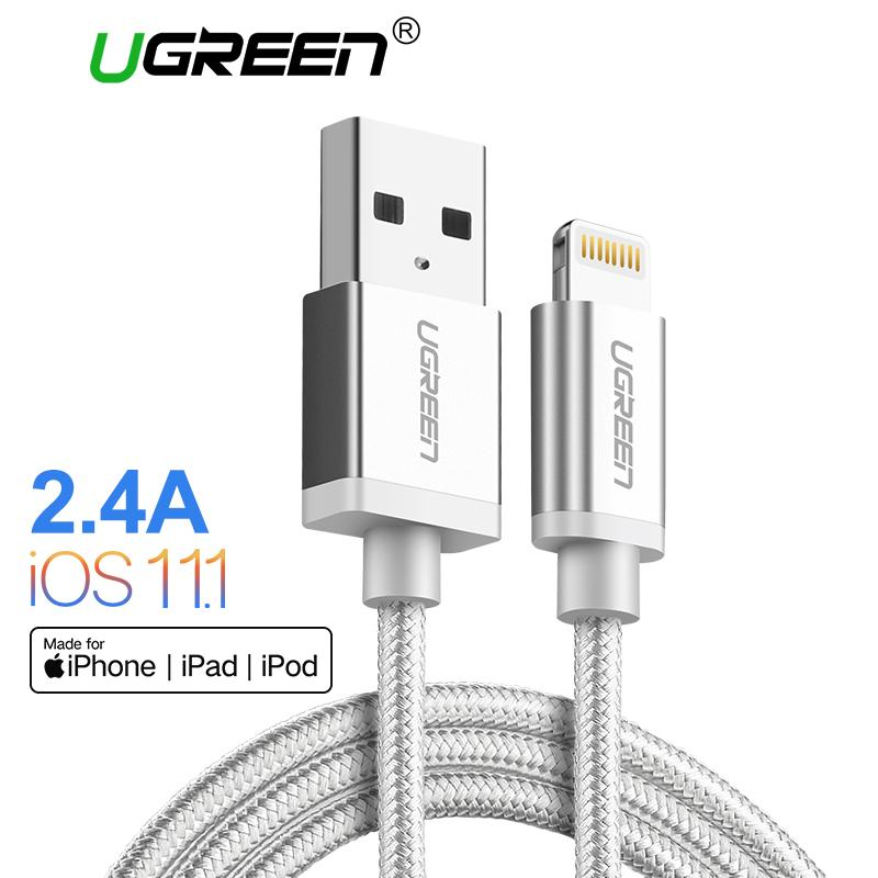 Top 10 Ugreen 25Meter Metal Alloy Original Usb Lightning Cable Usb Charger Cord Nylon Bradied Design For Iphone 4 5 6 7 8 X Ipad Intl