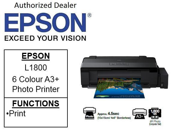 Epson EcoTank L1800 A3+ ** Free $50 NTUC Voucher Till 25th May 2019 **  Borderless Single Function 6-Colour Photo Printer (Free 32GB Flash drive)  Epson