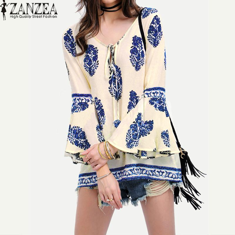 Price Comparisons For Zanzea Womens Lace Up V Neck Shirt Oversized Boho Floral Print Flare Sleeve Casual Loose Blouse Tops Blue Intl