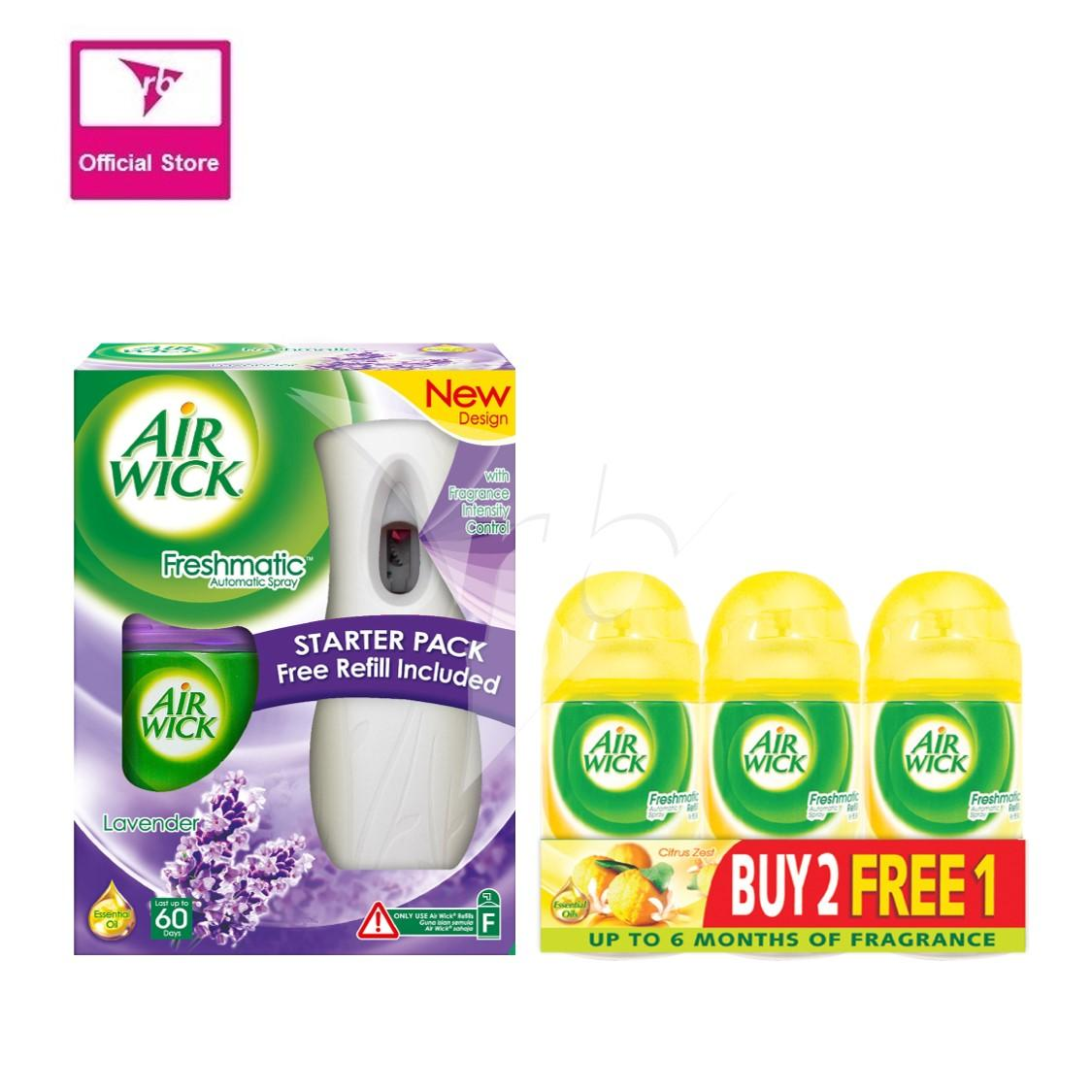 Airwick Freshmatic Starter Lavender  & Air Wick Freshmatic Citrust Zest  Refill Triple Pack (Buy 2 Free1 ) Air Care / Freshener