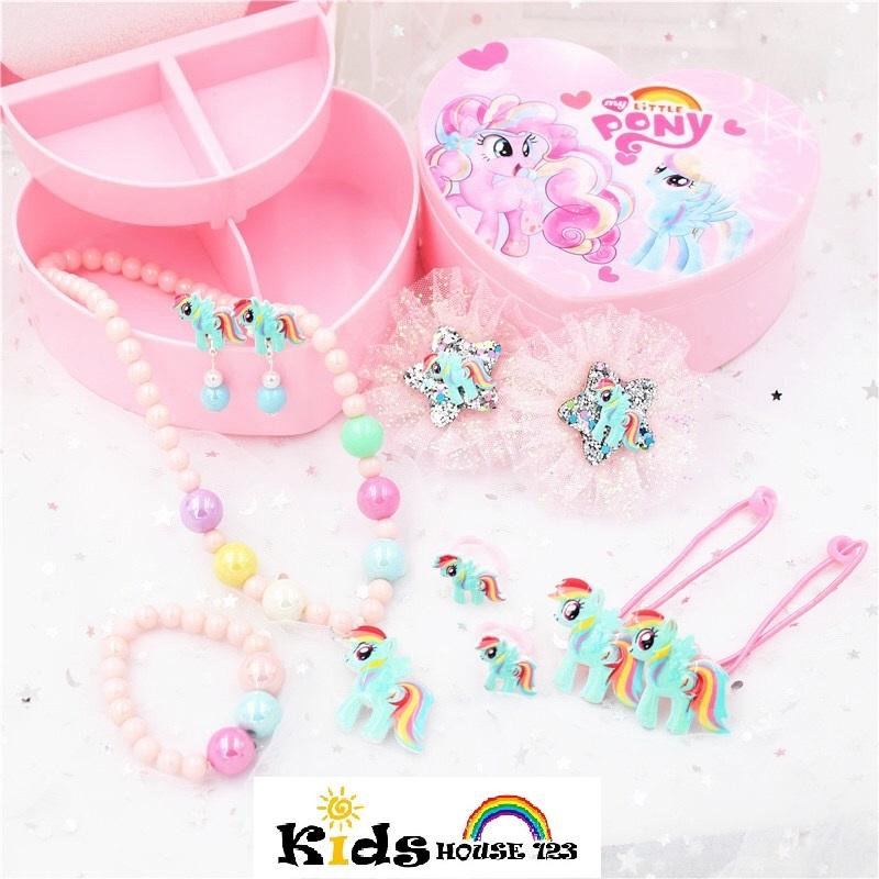 09092c5b1 My Little Pony Jewelry / Hair Accessories Gift Set w Box for Baby Kids  Children Girl