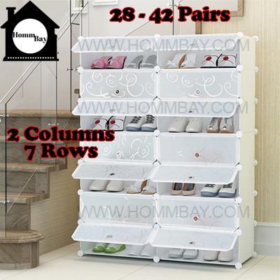 DIY Shoe Shoes Rack Storage Drawers Multi Purpose Modular Organizer Plastic Cabinets I WTWF Series I 2 Columns 7 Rows