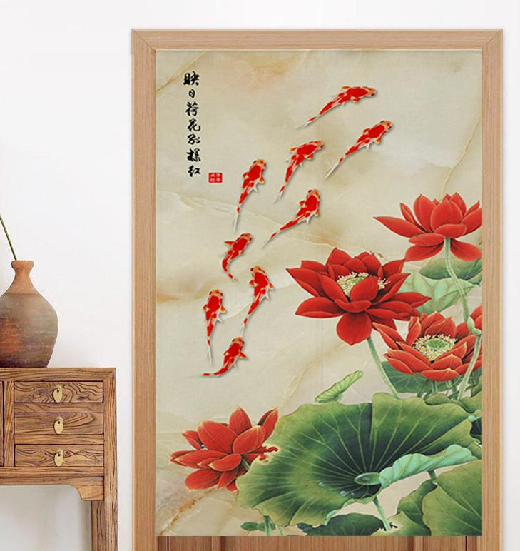 Chinese-style Toilet Compartments Door Curtain Wind Bath Curtain Soft Partition Bathroom LOTUS Lotus Tea Room Bedroom Fabric Curtain