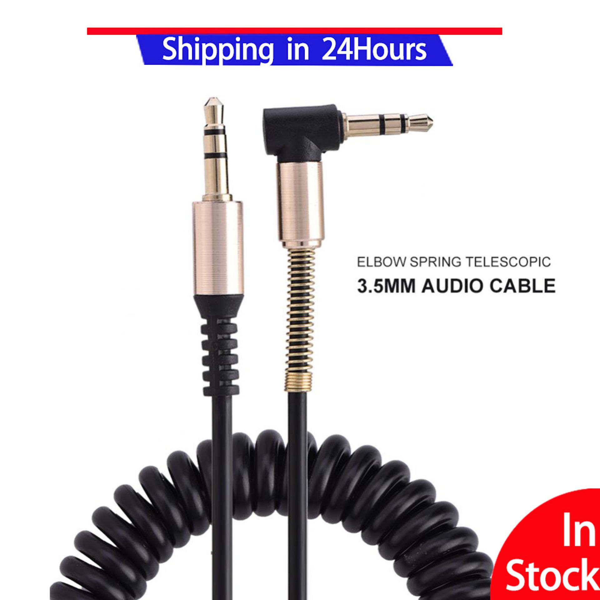 3.5mm Male to Male Spring Aux Cable L-Shaped & I-shaped Retractable
