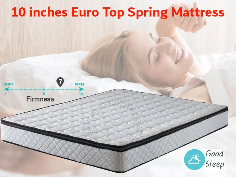 FurnitureSG 10 inches EuroTop Spring Mattress