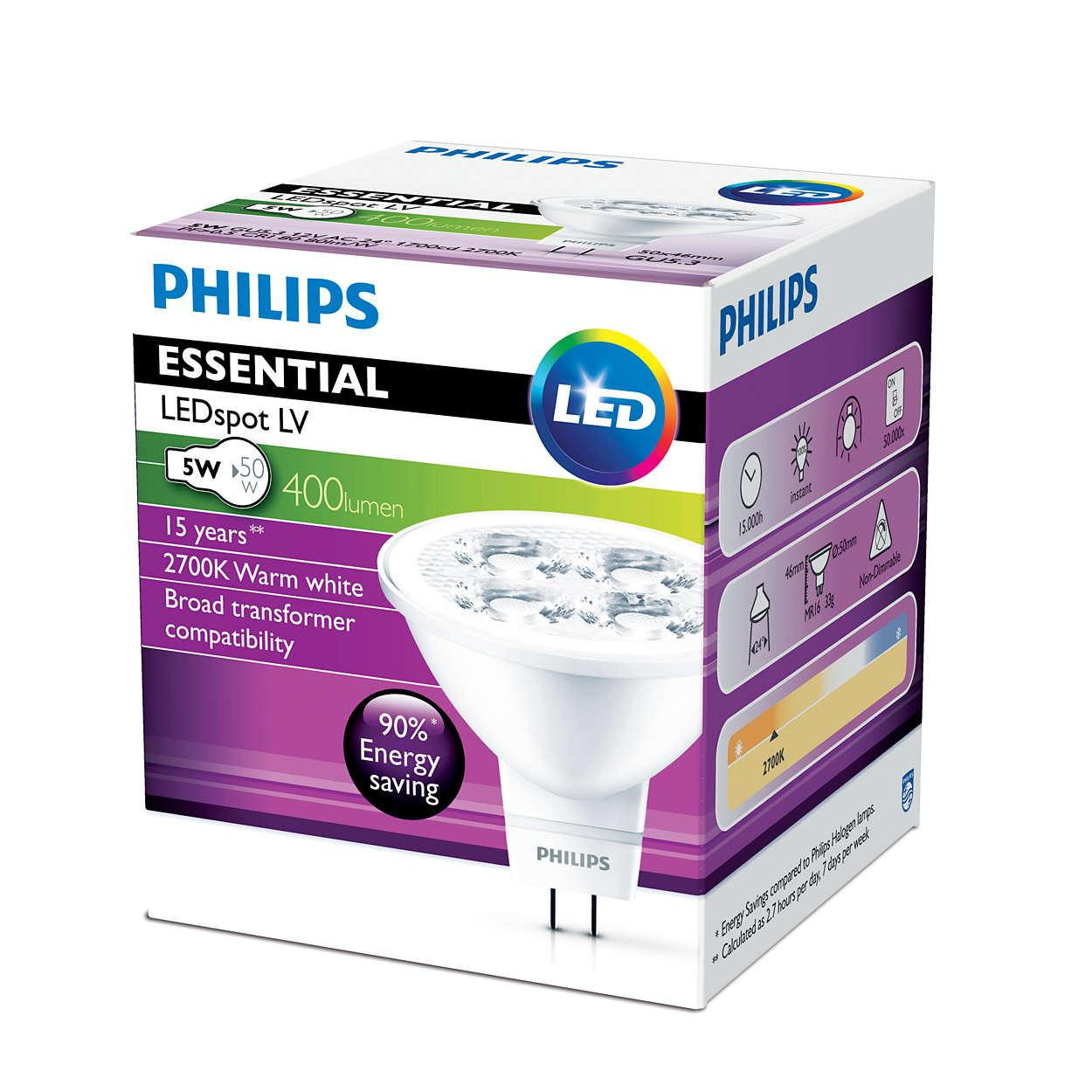 [Bundle of 4] PHILIPS ESSENTIAL LEDSpot LV 5W GU5.3 Warm White Spotlight