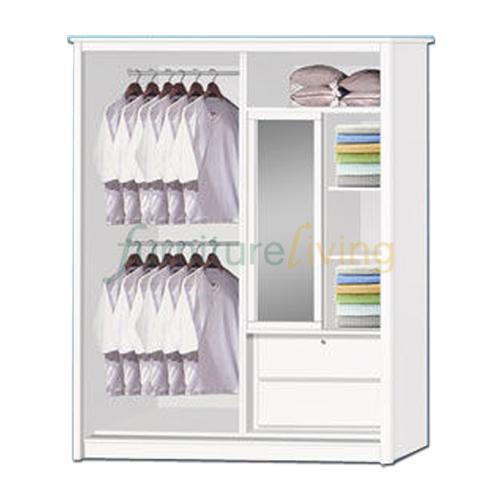 Furniture Living Sliding Door Wardrobe (Whitewash + Mirror)