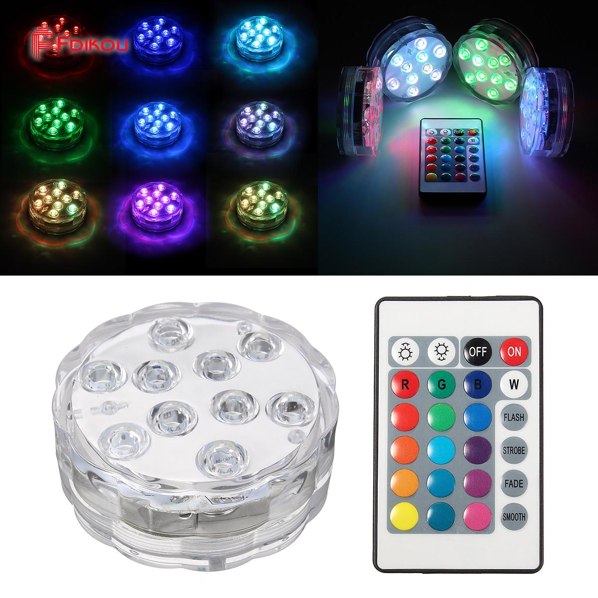 Fdikou 10 Led Remote Controlled RGB Submersible Light Battery Operated Underwater Night Lamp Vase Bowl Outdoor Garden Party Decoration Singapore