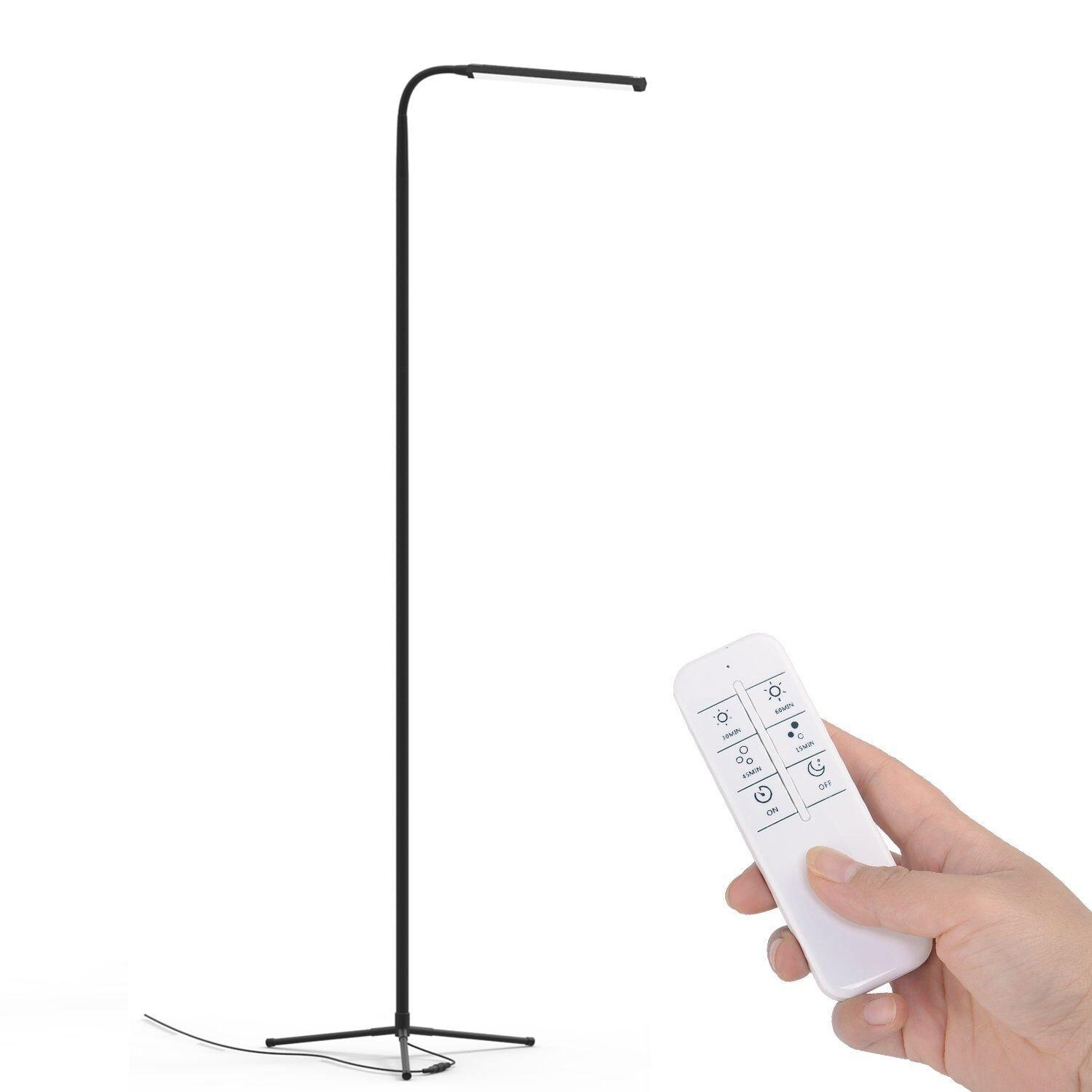 F9 Modern Touch Led Standing Floor Lamp Reading For Living Room Bedroom With Remote Control 12 Levels Dimmable 3000-6000k Black By Meiji Store.
