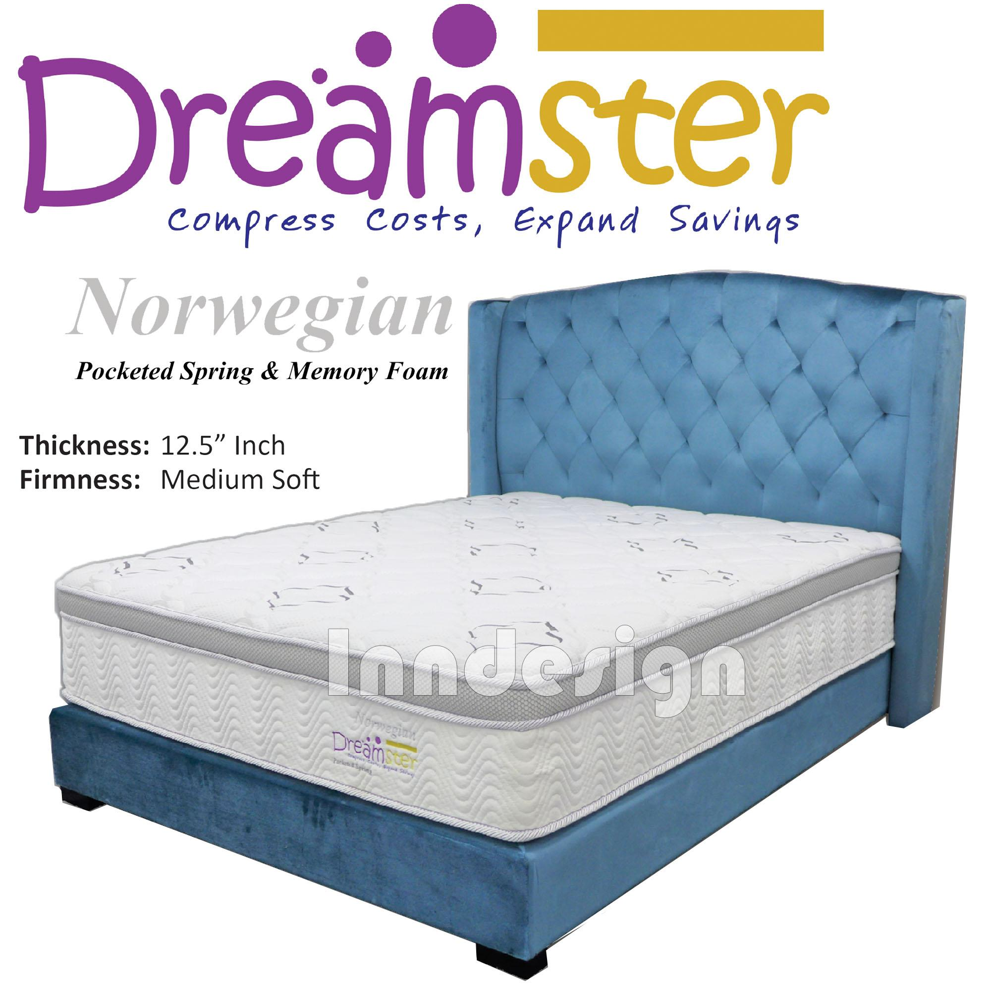 INNDESIGN Dreamster Norwegian12.5inch Pocketed Spring Mattress - (Queen Size)