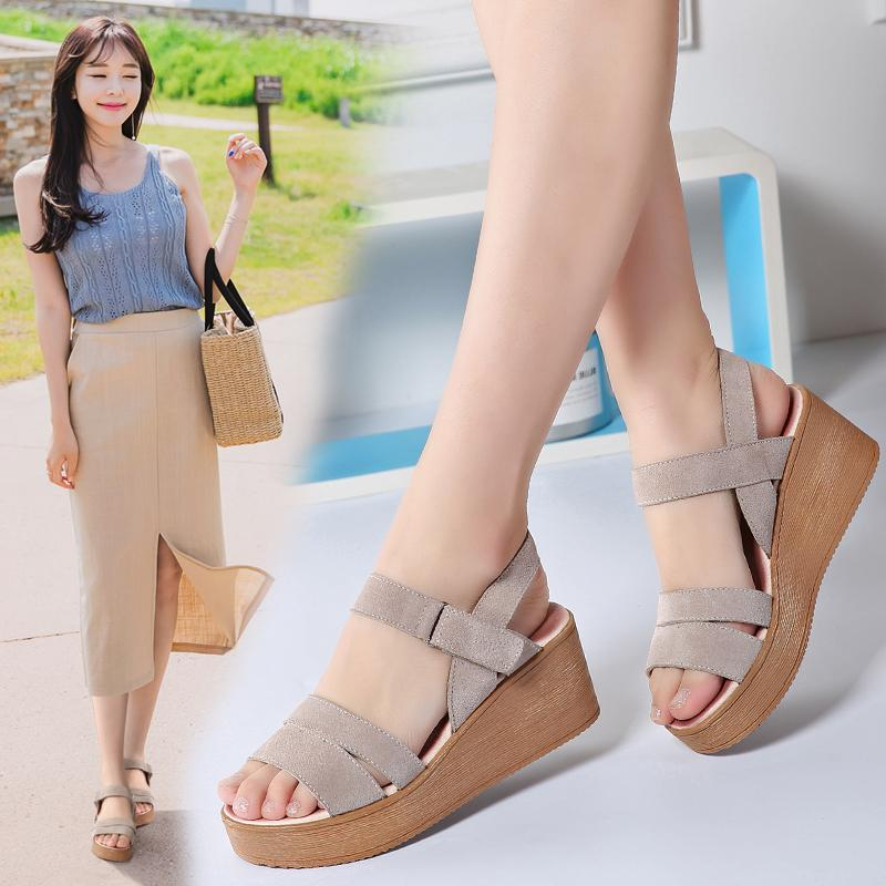 5a0a8f587d3 2019 Summer Leather New Style Slanted Heel Muffin Sandals Leather Thick  Bottomed Women s Shoes Korean Style