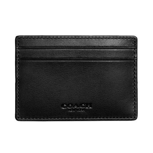 Coach F75459 Mens Money Clip Card Case Leather Wallet (Black)