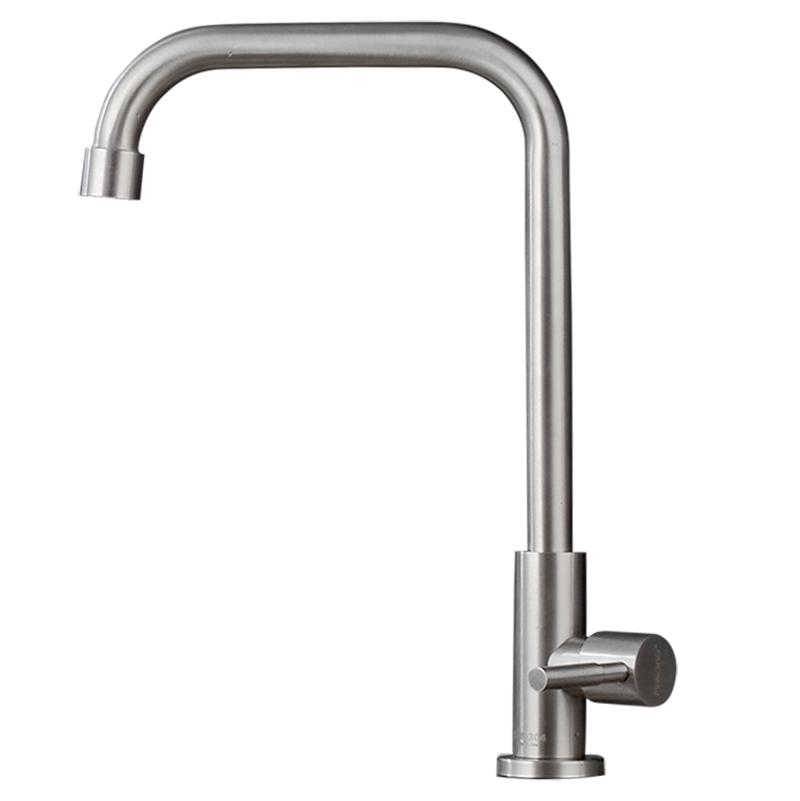 Single Cold 304 Stainless Steel Kitchen Faucet Household 4 Points Rotating Washing Basin Sink Anti-Spill Leading By Taobao Collection.