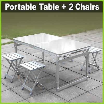 [One Mart][Life+] Portable Aluminium Table + 2 Standalone Chairs Set ★ Outdoor/ BBQ/ Picnic • 120 x 70 x 60cm