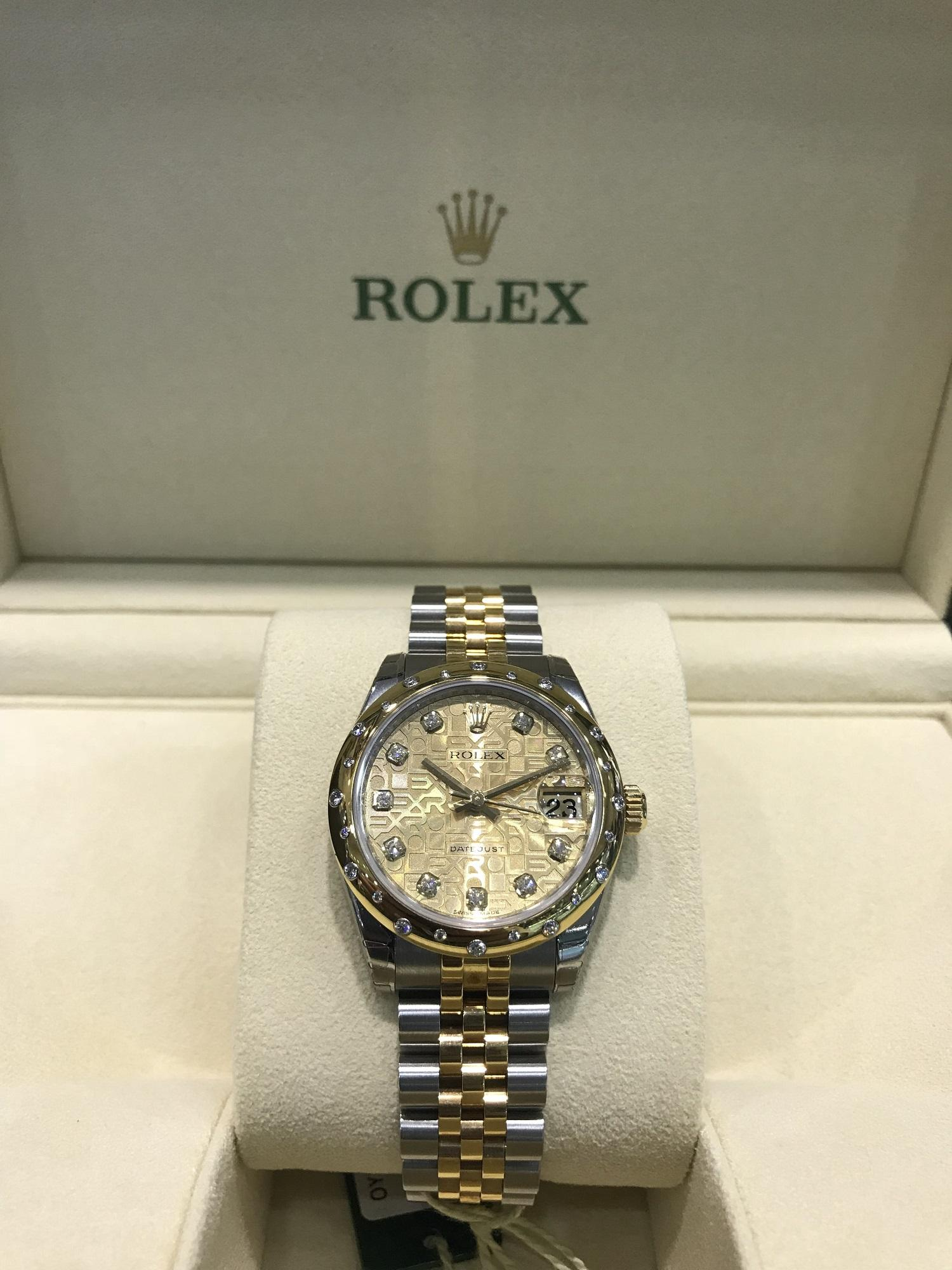 bc5948fb3a5 Rolex #178343 Jubilee Champagne Diamond Oyster Datejust 31mm OysterSteel  and Yellow Gold Ladies Watch with