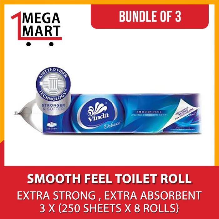 Price Bundle Of 3 Vinda Deluxe Smooth Feel Toilet Roll 250 Sheets X 8 Rolls On Singapore
