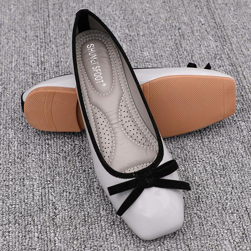 8526fb0235ebe 2019 New Style Autumn Summer Square Head Flat Heel Korean Style Mixed  Colors Shoes Female Leisure
