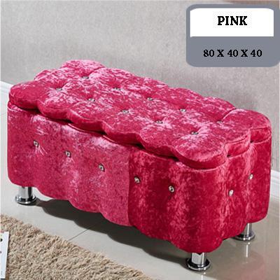 JIJI Premium Italy European Flannel Grade Storage Stool (76 x 40 x 40)(Storage Stool & Stools) - -Chairs  Sofa  Stools ★Storage  Organizer ★Furniture (SG)