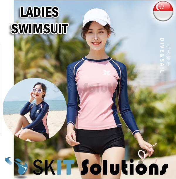 Adult Swimsuit For Ladies ★ Ls-18654f ★ Long Sleeve Swimming Costume Wear Suit Set By Sk I.t. Solutions.