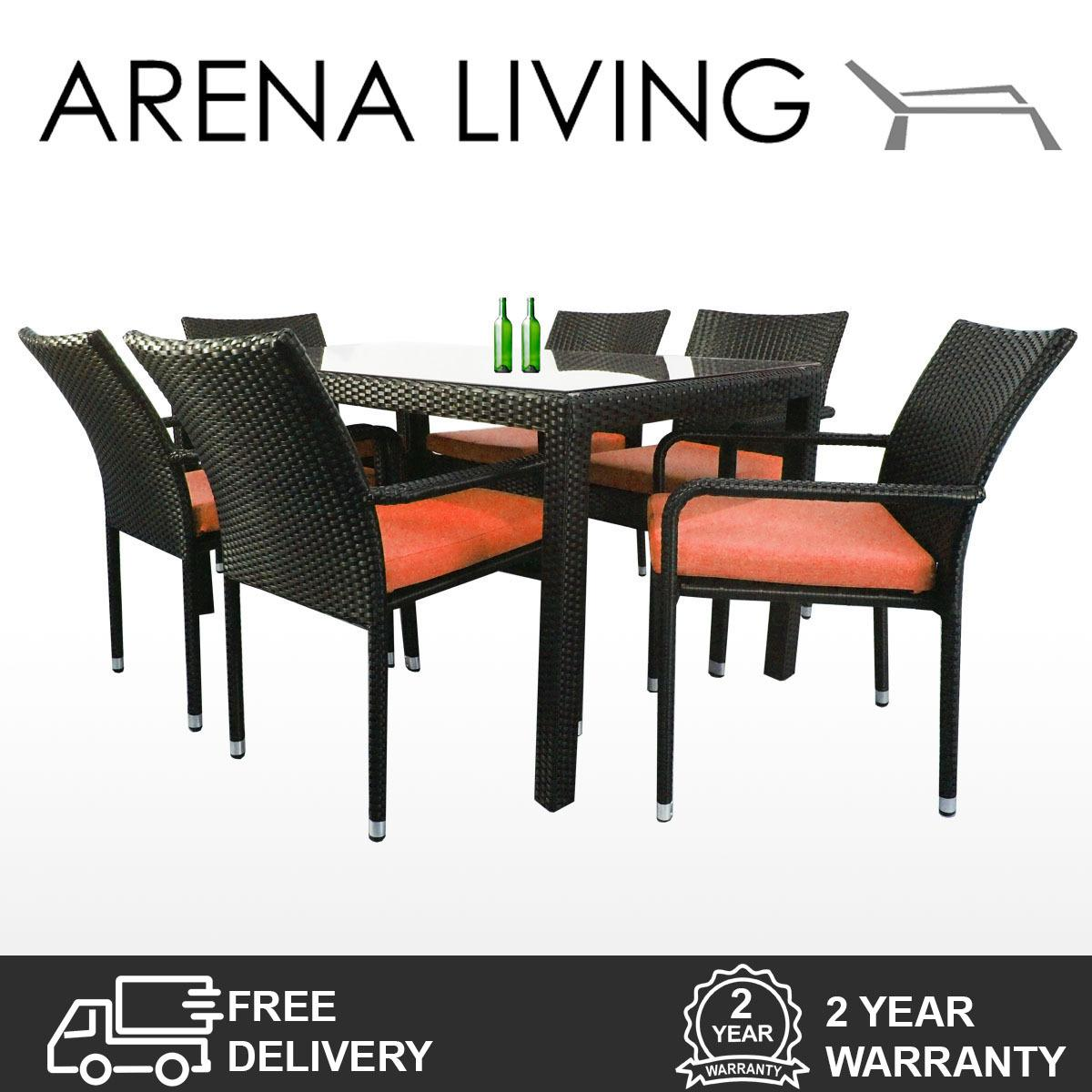 Price Comparisons Of Boulevard 6 Chair Dining Orange Cushion Outdoor Furniture By Arena Living™