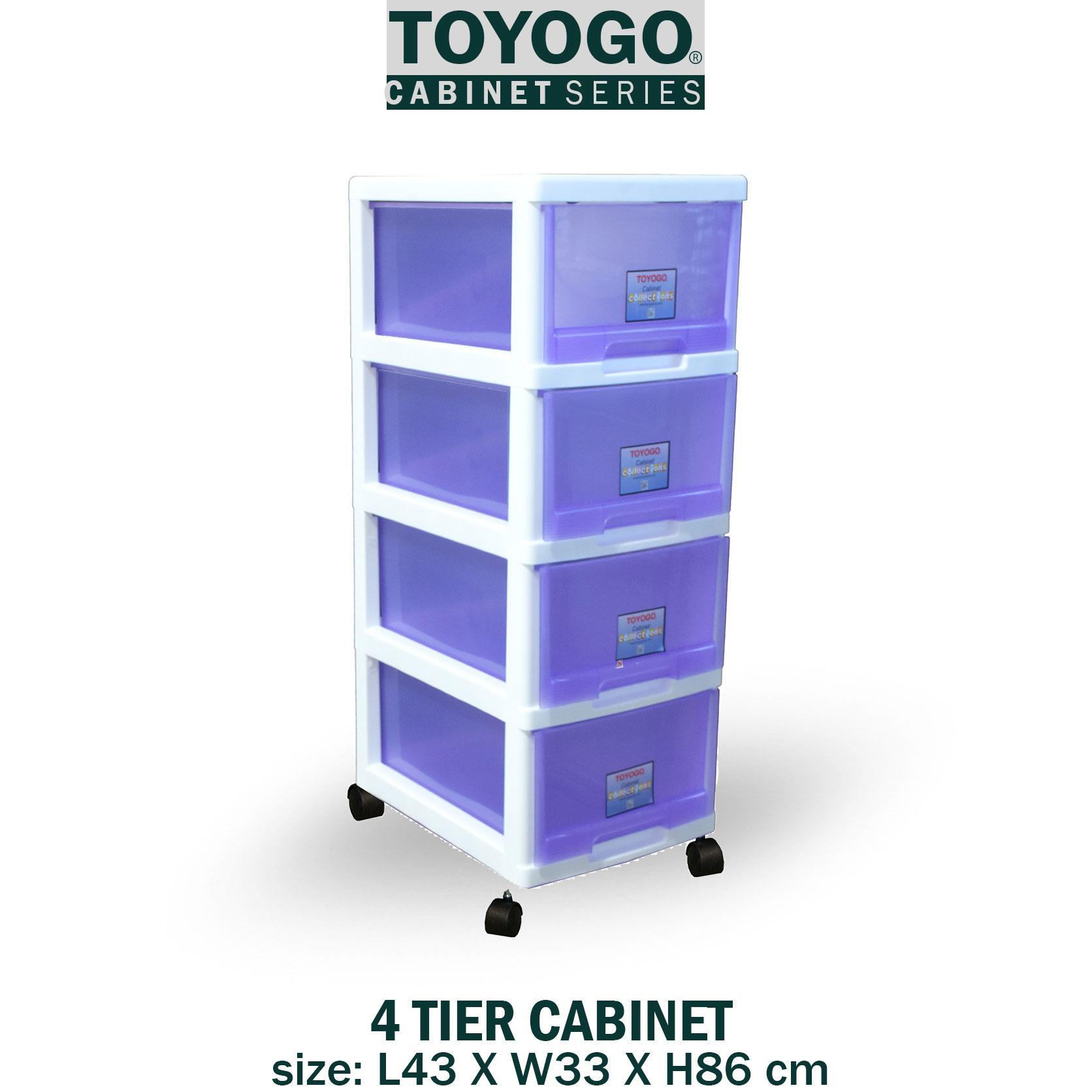 Toyogo 4 Tier Plastic Storage Cabinet / Drawer With Wheels [802-4]