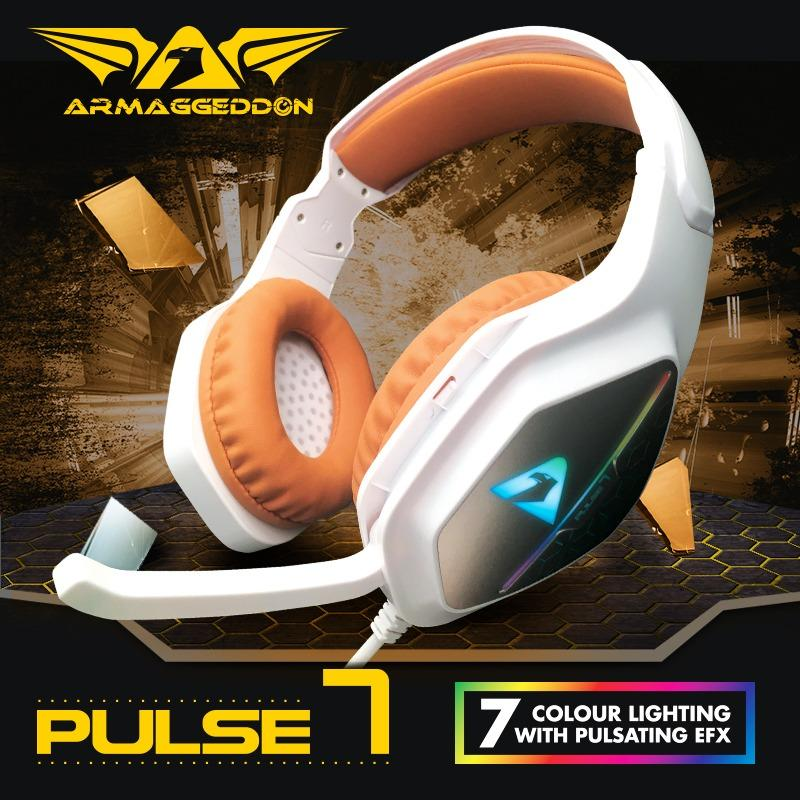 Armaggeddon Pulse 7 Gaming Headset Headphones Precise USB 2.1 Stereo 3.5mm Audio Jack Intense Resonating Bass Frequency High Sensitivity Microphone Lightweight Comfortable Omnidirectional Microphone 1 Year Warranty