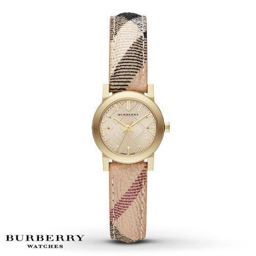 Burberry Champagne Dial Haymarket Check Fabric Ladies 26mm Watch Bu9219 By Watch Centre.
