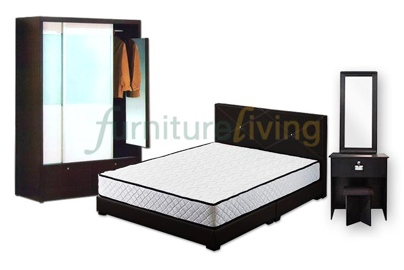 Furniture Living New 4 in 1 Bedroom Set (Bedframe/Wardrobe/Dresser/Stool) with Queen size HD Foam Mattress 7inch Package