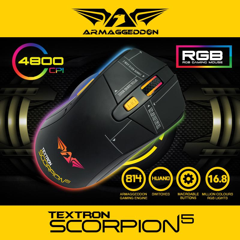 Scorpion 5 Armaggeddon 5 button RGB 4800CPI Gaming Mouse 5 button RGB 4800CPI