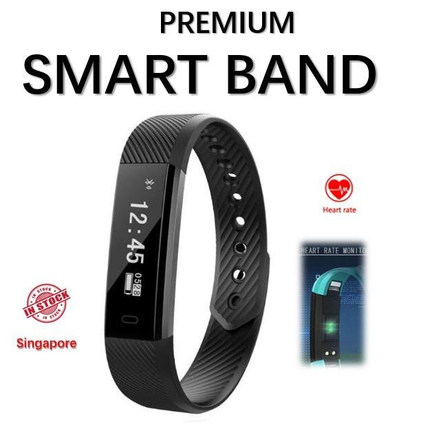 Buy Id115 Smart Bracelet Heart Rate Monitor Fitnesstracker Step Counter Bluetooth Alarm Clock Vibration Wristband Watch For Ios Android On Singapore