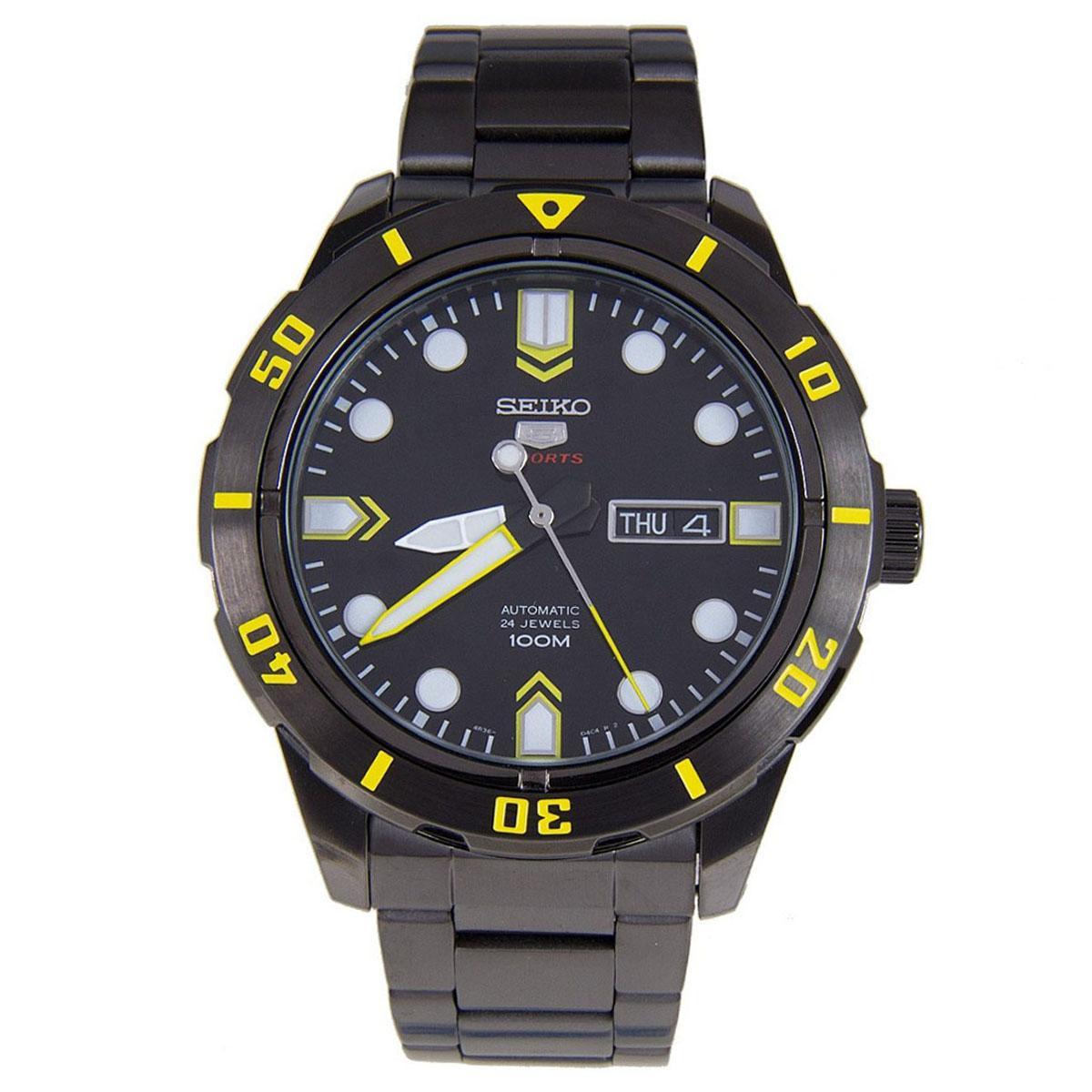 Seiko 5 Sports Black Stainless-Steel Case Stainless-Steel Bracelet Mens SRP679K1