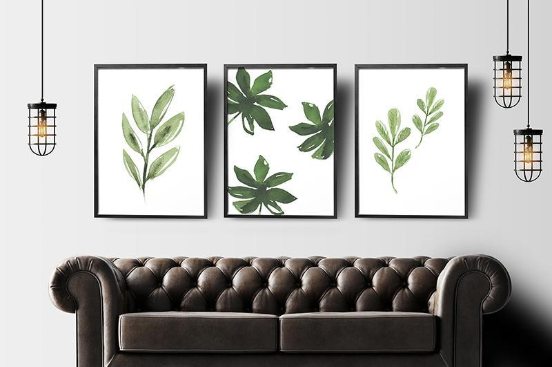 Canvas Art Simple Life Green Leaf Painting Wall Art Decor 20x25cm 5 Pieces Framed Canvas Prints Watercolor Decoration(Random) - intl