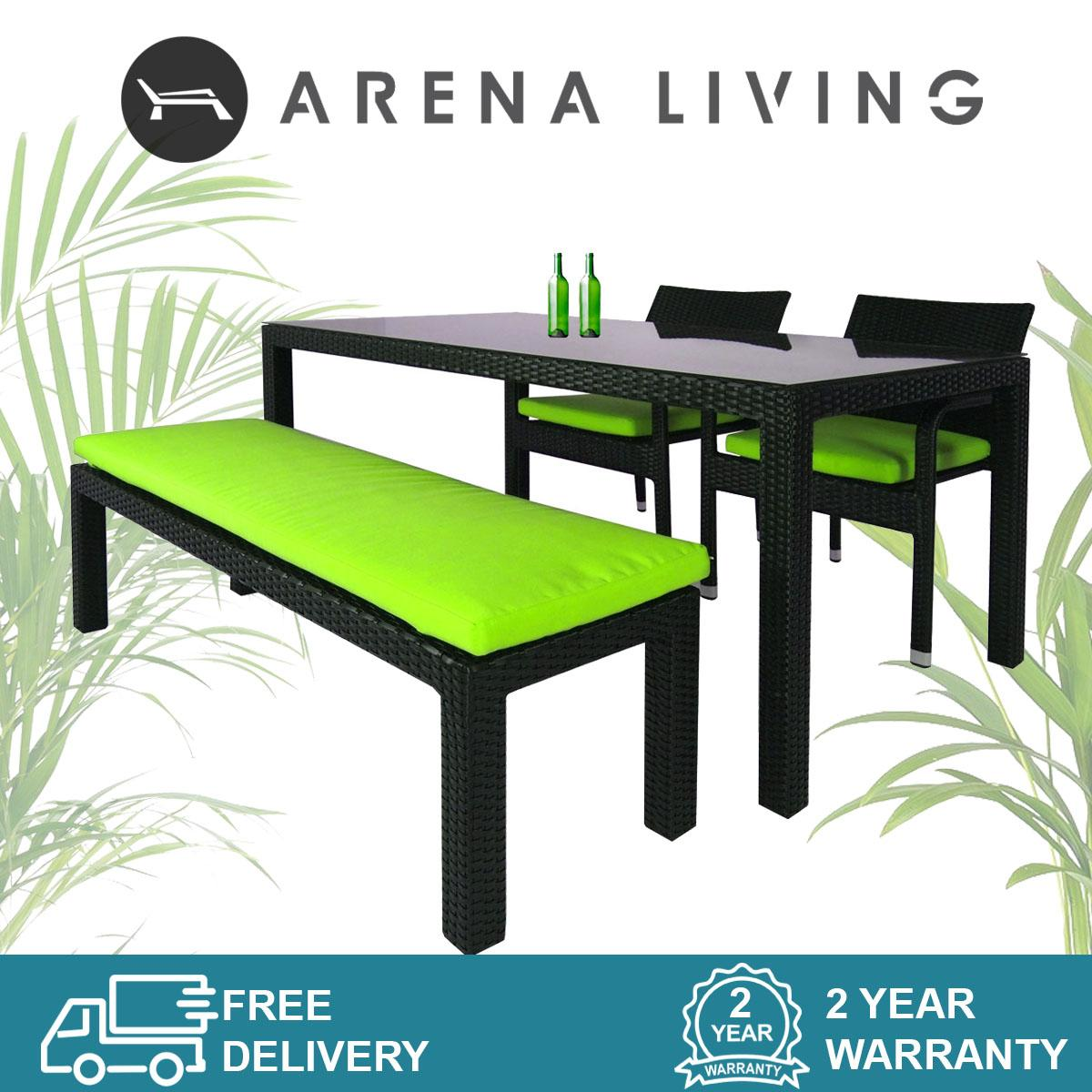 Addison 4 Pcs Dining Set, Green Cushions, Outdoor Furniture by Arena Living