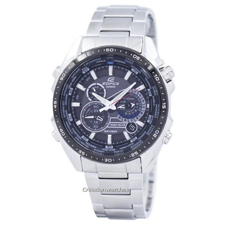 Casio Edifice Tough Solar Chronograph World Time Men S Silver Stainless Steel Bracelet Watch Eqs 500Db 1A1 Casio Cheap On Singapore