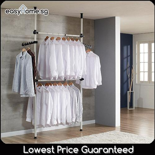 Buy 3802 Korean Standing Pole Clothes Rack Adjustable Hanger Bar Drying Shelf Singapore