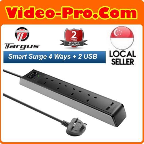 Targus APS1001AP-50 4 Ways Socket Surge Protector with 2 USB Port