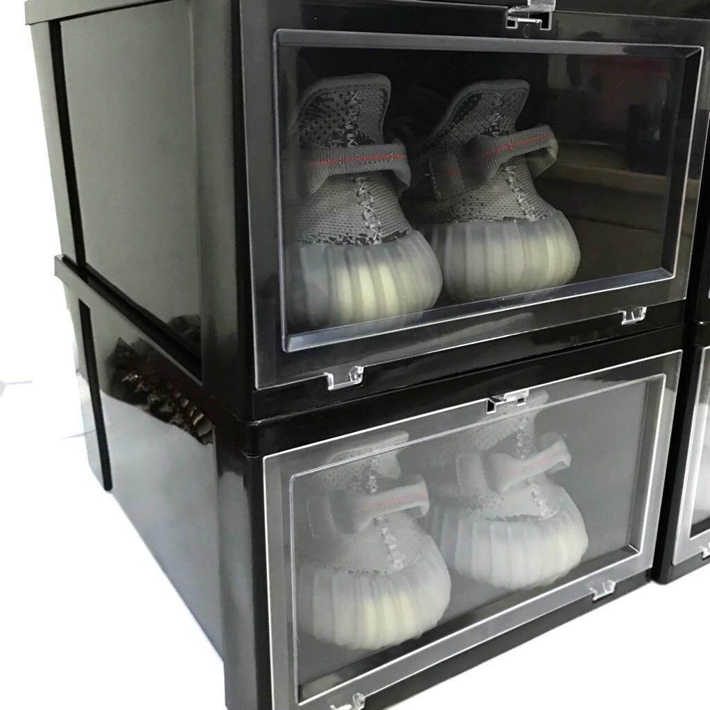6pcs Black Sturdy Shoe Box Storage with Shoe Display