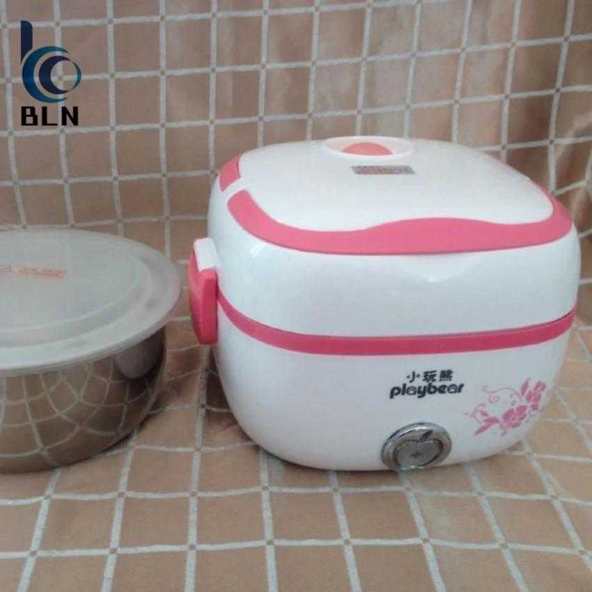 Top Rated 【Bln Home】Multifunction Stainless Steel Electric Mini Rice Cooker Lunch Box Personal Meal Heater