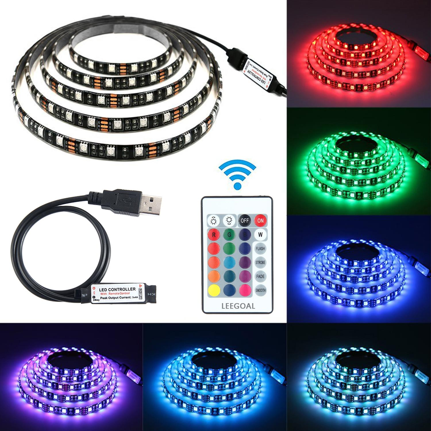 leegoal Bias Lighting, RGB LED Light Strip TV Backlight USB Strips Flexible Waterproof LED Lamp with 24 Keys Remote Controller for HDTV,Desktop PC,Home Theater