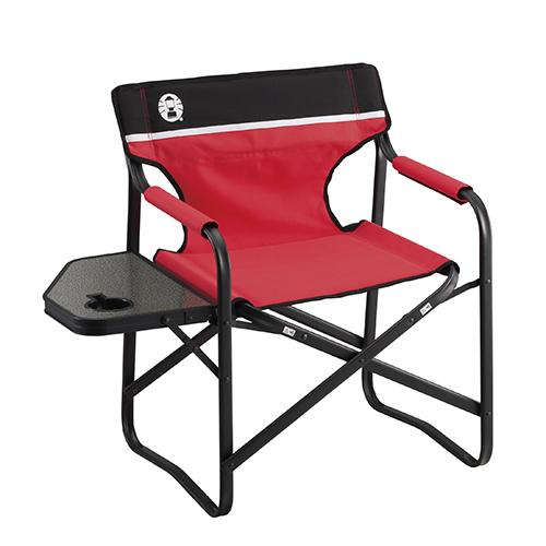 Coleman Folding Chair Foldable Compact Portable Light Weight SIDE TABLE DECK CHAIR (RED)