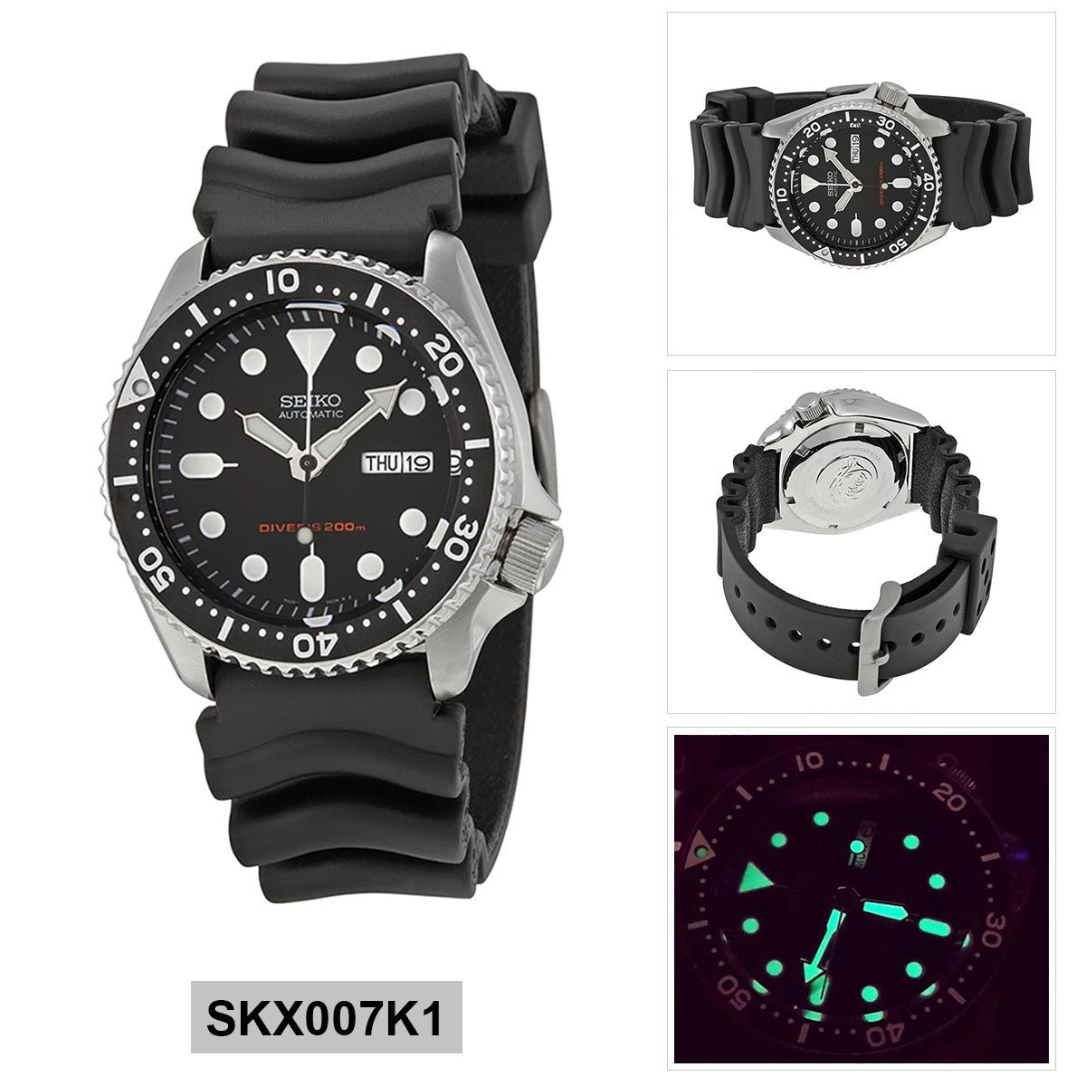 Seiko Watch Automatic Diver's Black Stainless-Steel Case Rubber Strap Mens NWT + Warranty SKX007K1