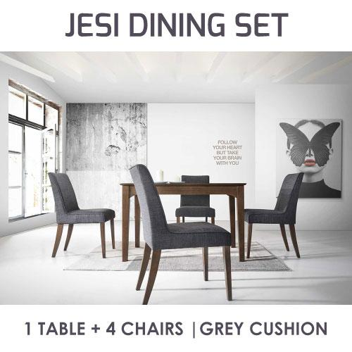 [A-STAR]  NEW JESI  WOODEN DINING TABLE AND CUSHION CHAIR SET (1+4)