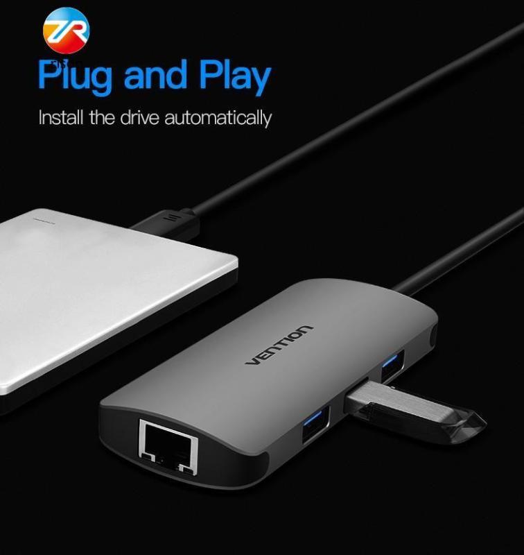 Vention USB Type C Converter Type C To HDMI VGA USB 3.0 PD Power 3.5mm Audio RJ45 Ethernet Adapter SD/TF Card Reader USB HUB