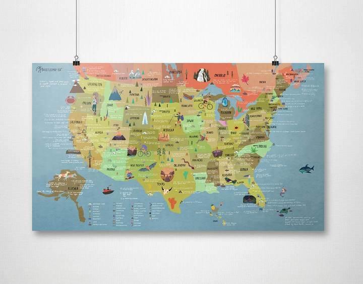 Awesome Map - Bucketlist Map USA (Activities Map)