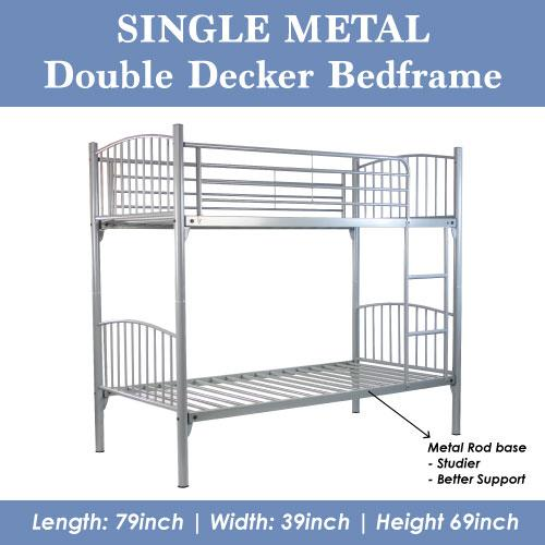 [A-STAR] Single Silver Metal Double Decker Bed
